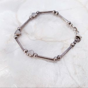 "925 Sterling Italy VTG Bead Heart 7"" Love Bracelet"